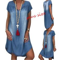 Summer, Plus Size, Dress, shortssleevedres