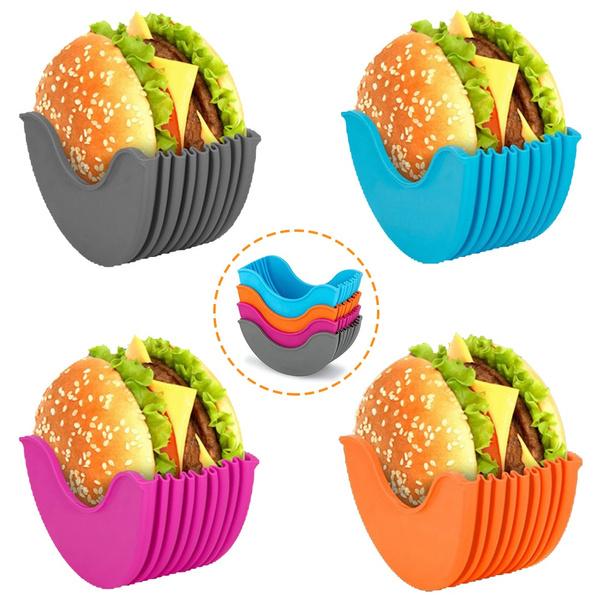 Adjustable Hamburger Buns Burger Holder 4 Pack Burger Buddy Burger Fixed Box Hygienic Hamburger Box Silicone Rack Holder Burger Box Suitable for Burger Lovers Reusable Mess Burger Holder