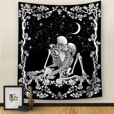 blackandwhitetapestry, decoration, Skeleton, skull