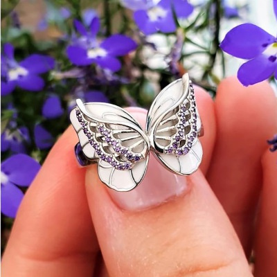 butterfly, Sterling, fashionjewelryring, pinksapphirejewelryring