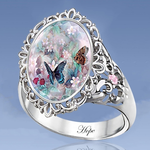 Sterling, butterfly, DIAMOND, zirconring