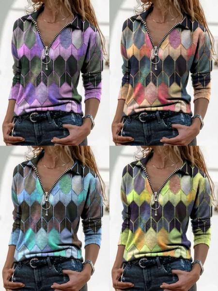blouse, Deep V-Neck, Plus Size, Ladies Fashion