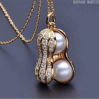 Jewelry, peanutpendantnecklace, gold, 18 k