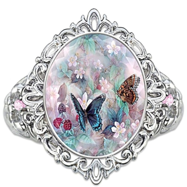 butterfly, noble, Flowers, Women Ring