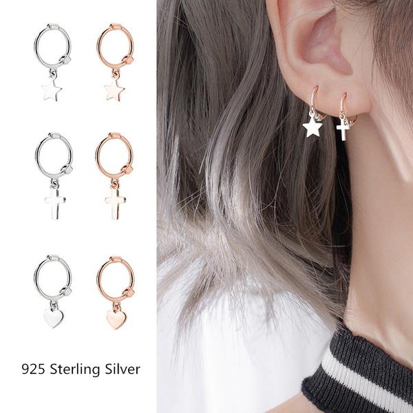 Sterling, cute, Hoop Earring, Star