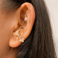 goldplated, Fashion, gold, Pearl Earrings