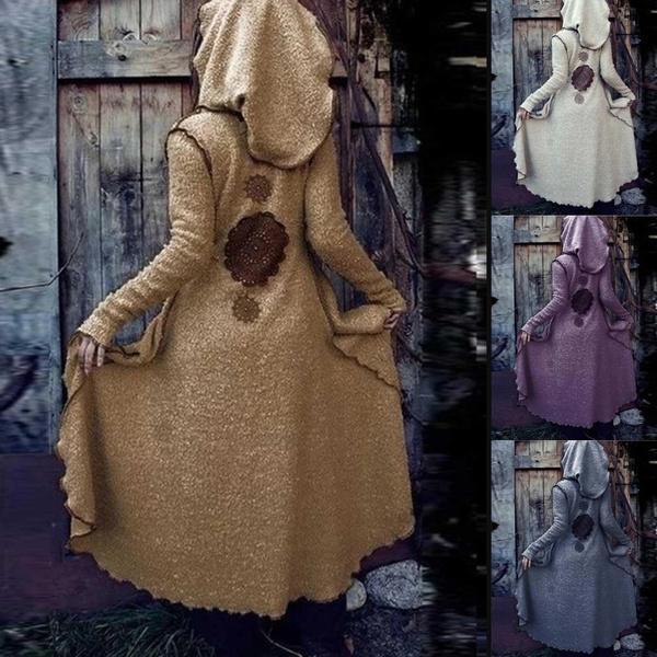 casual coat, Fleece, hooded, Outerwear