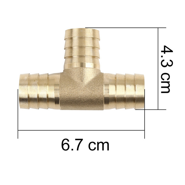 Brass, Pipe, tshaped, 3