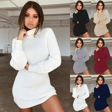 collar slim, Fashion, sweater dress, Winter