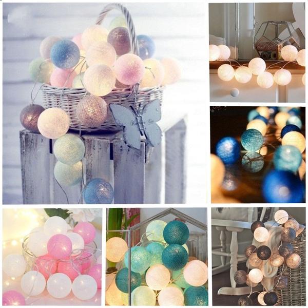 cottonball, christmastreelight, led, Christmas