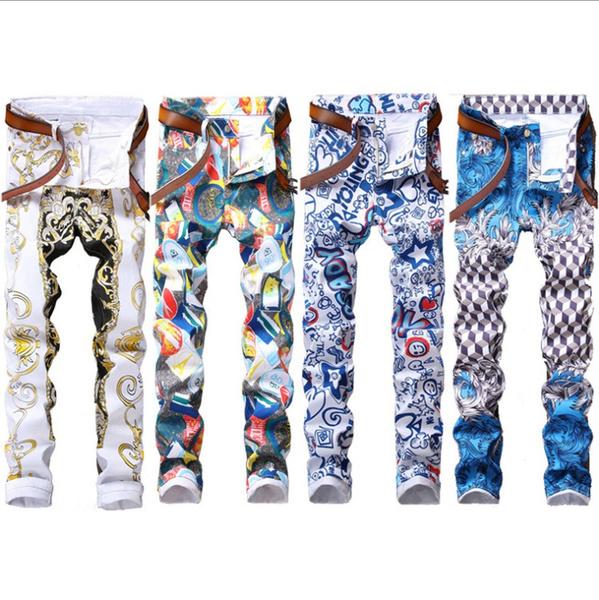 men's jeans, nightclubclothing, printed, pants