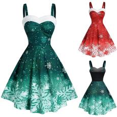 Swing dress, high waist, Evening Dress, fulldres