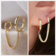 Hoop Earring, Silver Earrings, Chain, Jewelry