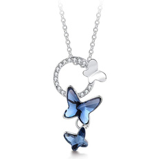butterfly, Sterling, crystal pendant, Crystals Necklace