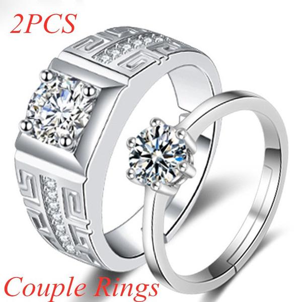 Couple Rings, Heart, Adjustable, Love