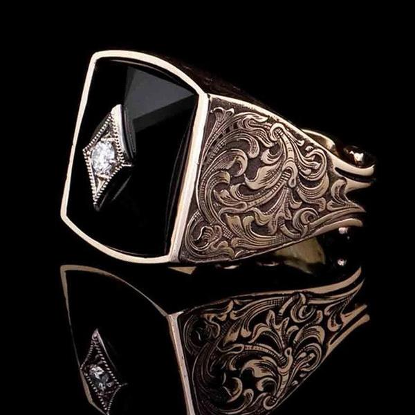 18 k, DIAMOND, gold, blackagate