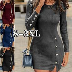 slim dress, Fashion, sleeve dress, Winter