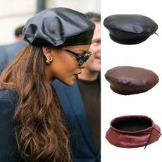 Fashion, painterhat, leather, leatherberet