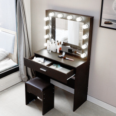 Beauty, vanitiesvanitybench, Makeup, mirrortable
