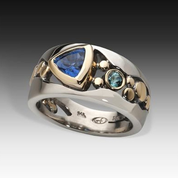 Blues, Sterling, Blue Sapphire, emeraldring