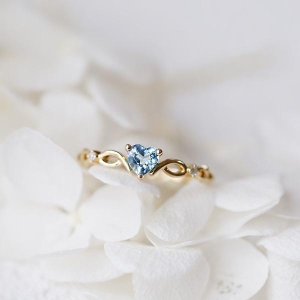 sky blue, Heart, DIAMOND, gold