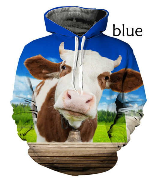 Funny, hooded, cow, animal print