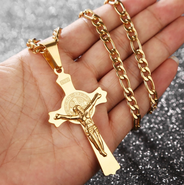 Hunter, Steel, Cross necklace, gold