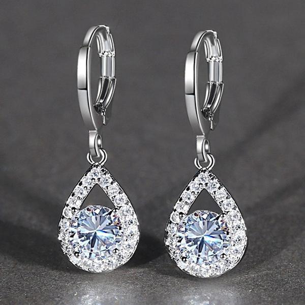 White Gold, Engagement, gold, whitesapphireearring
