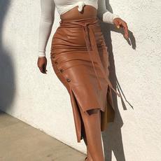 Fashion, pleatedpuleatherskirt, leather, womenblackpocketpuleatherminiskirt