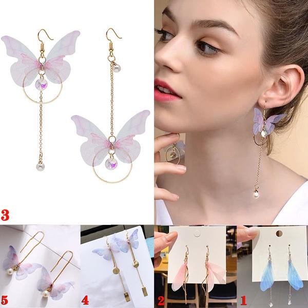 butterfly, cute, longtasselwingsearring, rounddangleearring