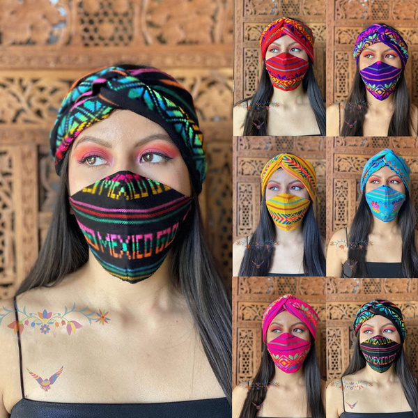 womenmask, Colorful, turbanknot, printedmask