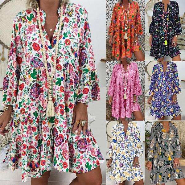 Summer, Plus Size, Long Sleeve, Dress