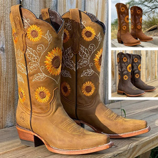 Fashion, Leather Boots, printed, Sunflowers