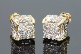 yellow gold, DIAMOND, Jewelry, Sterling Silver Earrings