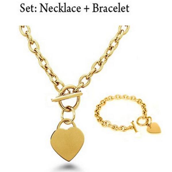 Charm Bracelet, Heart, gold, Stainless Steel