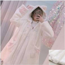 lolitajacket, fauxfurhoodie, Fashion, earhoodedcoat