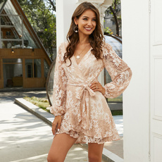 beltwaistdresse, Fashion, Lace, Long Sleeve