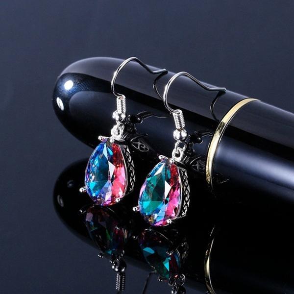 Sterling, rainbow, rainbowgemearring, Dangle Earring