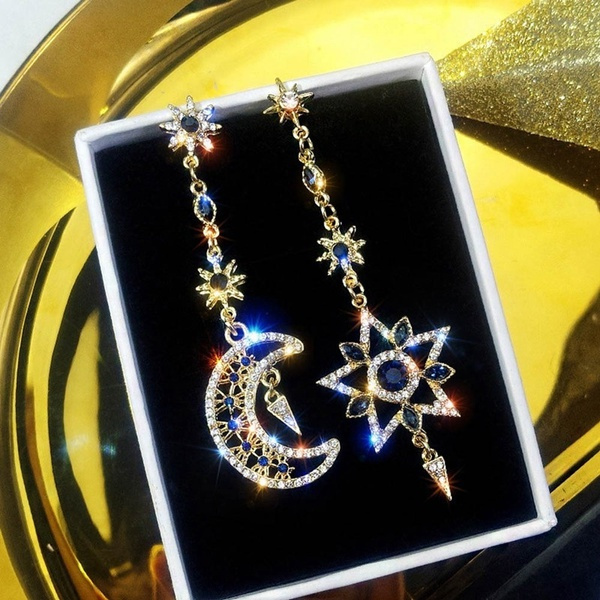 moonearring, Dangle Earring, Jewelry, asymmetric