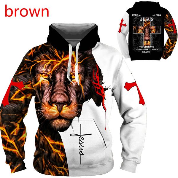 Fashion, lionhoodie, Long Sleeve, jesus