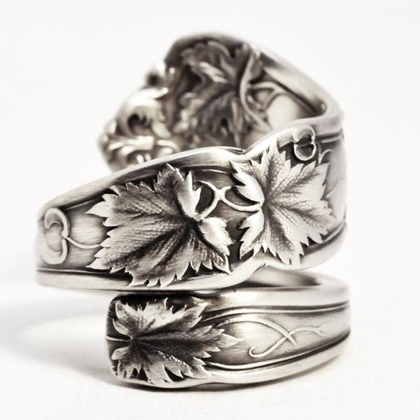 leavesring, Sterling, wedding ring, 925 silver rings