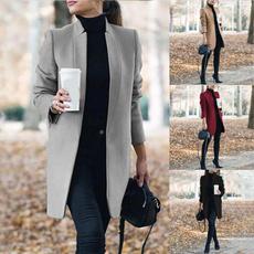 Stand Collar, woolen coat, woolen, Lady Fashion