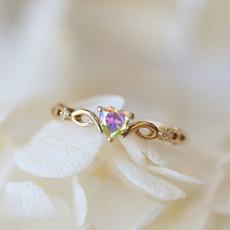 Heart, Engagement, zirconring, Simple