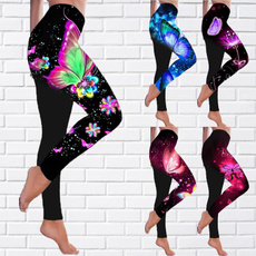 butterfly, Plus Size, skinny pants, Women Leggings