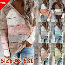 women pullover, sleeve v-neck, hooded sweater, Hoodies