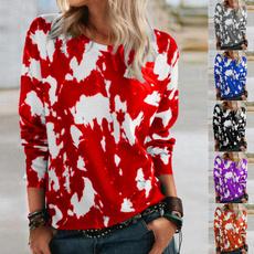cute, Printed T Shirts, Tops & Blouses, loosepullovershirt