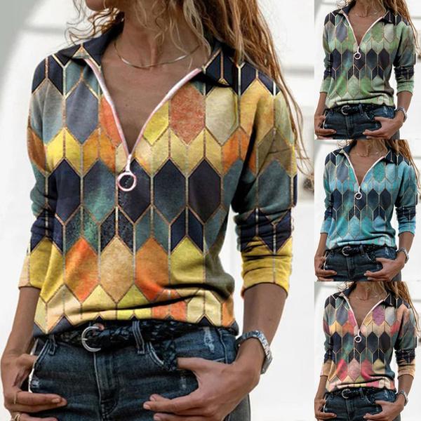 Plus Size, Long Sleeve, printed shirts, slim