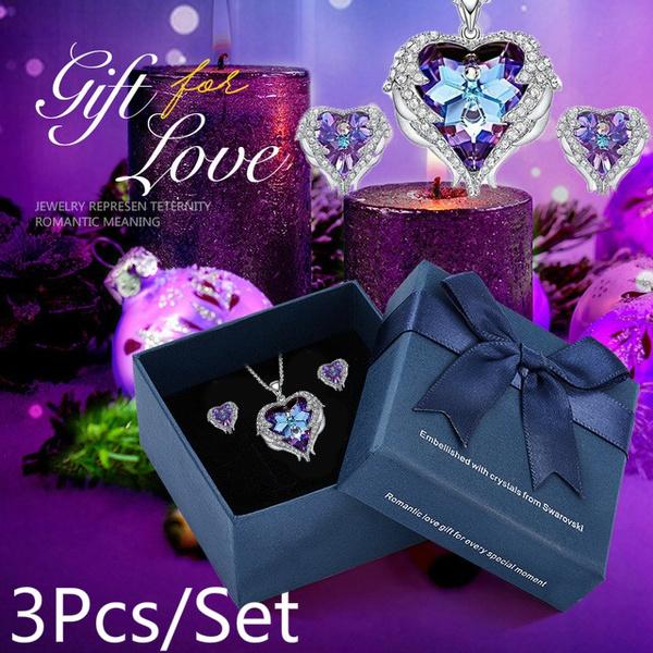 Blues, Heart, crystal pendant, Angel