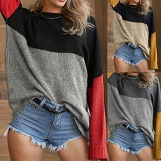 crewneck sweater, Plus Size, colorblocksweater, Necks