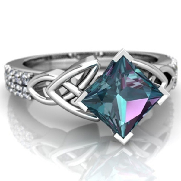 Sterling, rainbow, wedding ring, 925 silver rings